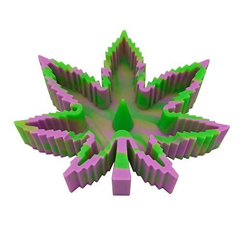 JWSJ FADA Silicone Maple Leaf Ashtray Unbreakable Decorative Tray Colorful Holder for Cigarette/Cigar/cigarillos/Blunts - Silicone Ash Tray Home Décor (Green-Purple)