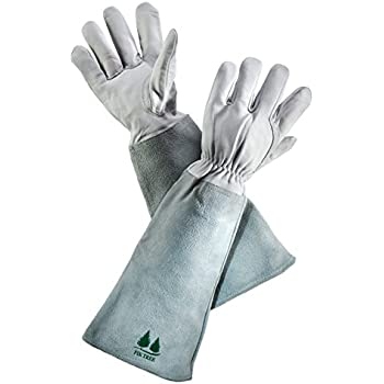 leather gardening gloves by fir tree premium goatskin gloves with cowhide suede gauntlet sleeves perfect rose garden gloves menu0027s and womenu0027s sizes