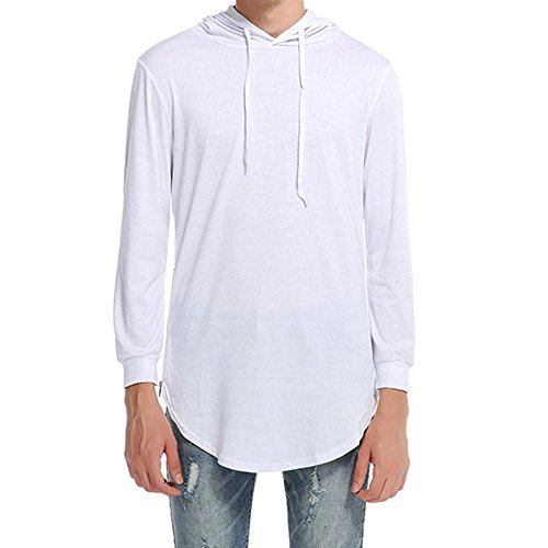 - vermers Deals Fashion Tops for Men - Hipster Hip Hop Hoodie Side Zipper T Shirts(M, y-White)