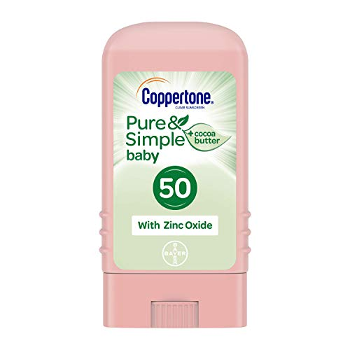 - Coppertone Pure & Simple Baby SPF 50 Sunscreen Stick, Water Resistant, Pediatrician Recommended, Mineral Based, Cocoa butter, Broad Spectrum UVA/UVB Protection, 0.49 Ounce