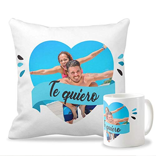Pack Taza + cojín Personalizados con tu Foto para Enamorados y San Valentín | Cojín de 40 x 40 cm + Taza de Desayuno de cerámia Diseño con Frase Te ...
