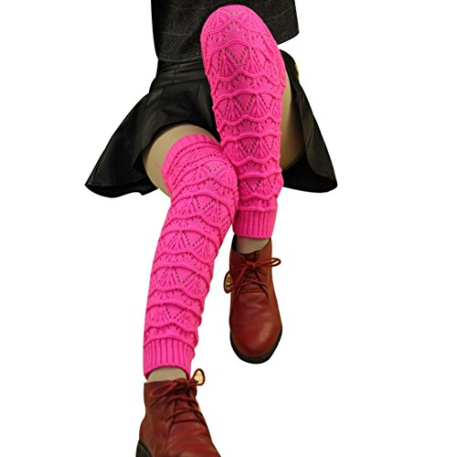 Oksale Women Warm Over Knee Crochet Knitted Boot Cover Stocking Leg Warmers (Hot (Hot Pink Love Boots)