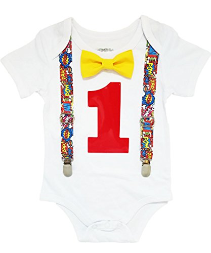 Noah's Boytique Superhero First Birthday Outfit Super Hero Shirt Party Cake Smash Outfit Comic Book Theme 18-24 (Superheroes Outfit)