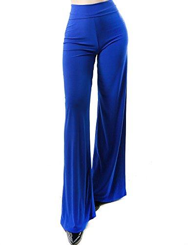 Womens Fashion Full Length Palazzo Stretch Gaucho Solid Pants (SMALL, BLUE)