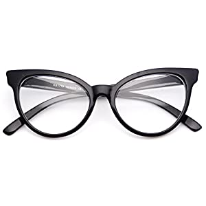 WearMe Pro - Non-Prescription Cat Eye Clear Lens Glasses for Women (Full Black, 52)