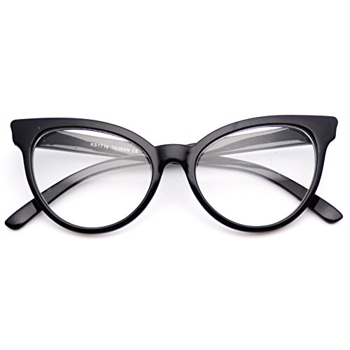 WearMe Pro - Non-Prescription Cat Eye Clear Lens Glasses for Women (Full Black, 52)