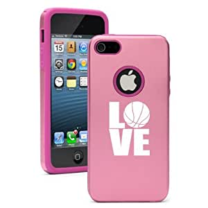 Apple iPhone 5 5S Pink 5D291 Aluminum & Silicone Case Cover Love Basketball