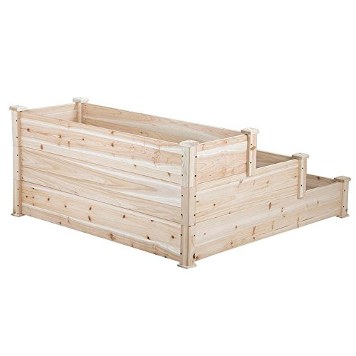 Yaheetech 3 Tier Wooden Elevated Raised Garden Bed Planter