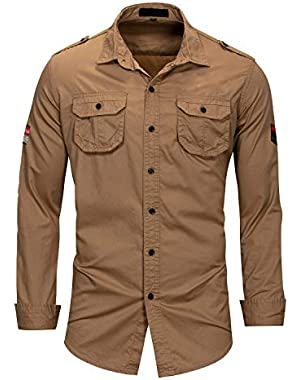Men Long Sleeve Button Down Shirts,Fall Casual Slim Fit Clothing Outwear with Pockets