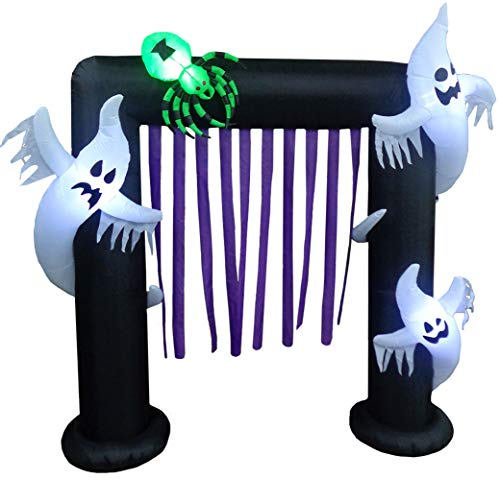Impact Canopy Halloween Inflatable Yard Decoration, Blow Up Lighted Ghost Arch, 8' Tall x 7' Wide ()