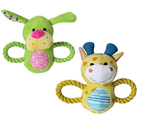 Stock Show 2Pcs Pet Squeak Toy with Rope Handle, Plush Light