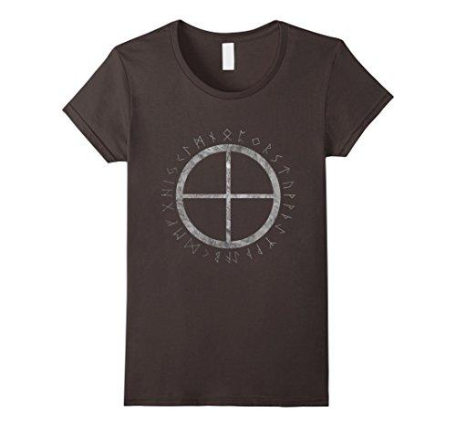 Womens Solar Cross Viking Nordic Sign Rune Symbol Tee Medium Asphalt (Cross Viking)