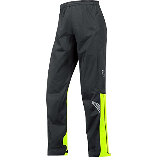 GORE BIKE WEAR Men's Long Cycling Rain Overpants, GORE-TEX Active,  GT AS Pants, Size XL, Black/Neon Yellow, PGMELE (Touring Overpants)