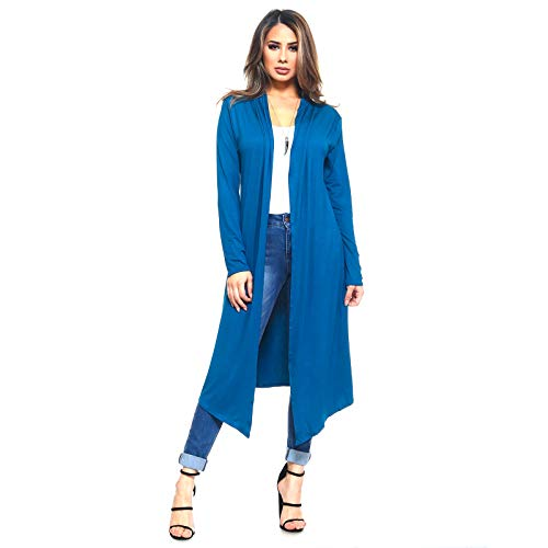 (Isaac Liev Women's Trendy Extra Long Duster Open Front Long Sleeve Light Weight Maxi Cardigan (Large, Teal Dark))