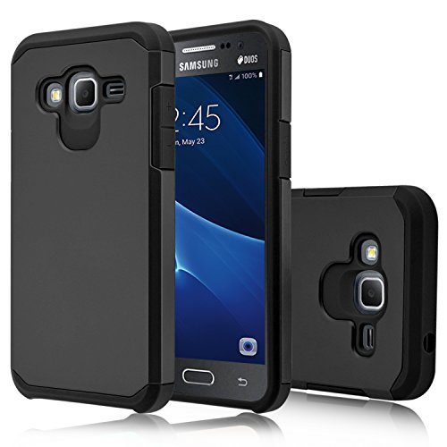 Galaxy J3 V Case, Galaxy J3 Case (2016), Venoro [Shockproof] Armor Hybrid Defender Rugged Protective Case Cover for Samsung Galaxy J3 / Express Prime/Amp Prime (Black)