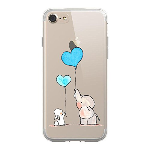 iPhone 8 Case ,iPhone 7 Case, HUIYCUU Cute Animal Design Slim Fit Soft TPU Protective Cover with Funny Pattern Thin Clear Skin Gift Novelty Bumper Back Case for iPhone 8 / iPhone 7,Bunny Elephant Ball