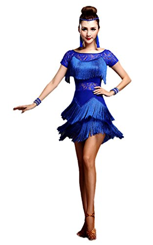 Honeystore Women's Latin Dress Lace Pattern Tiered Tassel Flapper Costume Dress Blue (Dancesport Latin Costumes)