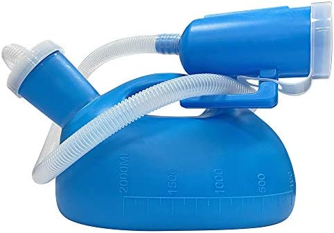 Urinals for Men Thick Firm Portable Urinal Urine Collection for Hospital Incontinence Elderly Travel Bottle and Emergency 2000 ml- 50 Long TubeLid(Blue)