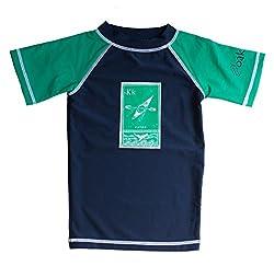 Kids Rash Guard Shirt, Short Sleeve (2T, Navy Blue)