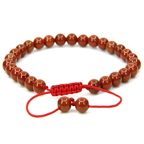 Jasper 6 Mm Gemstone - Amandastone Natural Red Jasper 6mm Round Beads Adjustable Braided Macrame Tassels Chakra Reiki Bracelets 7-9 inch Unisex