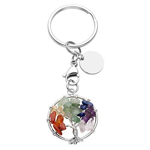 JOVIVI 7 Chakra Healing Crystal Silver Tree of Life Pendant Keychain Key Ring w/Stainless Steel Dog Tag Charm ()