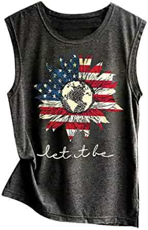 Sports & Outdoors Henwerd Womens Fashion Summer Polyester Casual American Flag Print O-Neck Tank Tops Blouse Fan Shop
