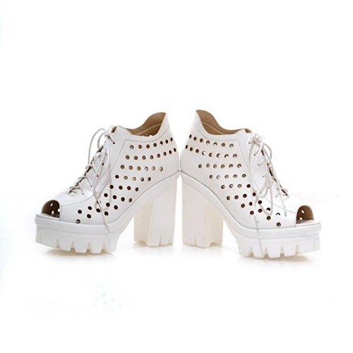Heels PU Weiß Toe Chunky VogueZone009 High Sandalen Plattform Heel Womens Peep Open Material Weiches Feste 8qtw6zF1