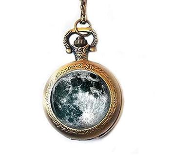 Full Moon - Collar con colgante de reloj de bolsillo, diseño de planeta, color blanco y negro: Amazon.es: Hogar