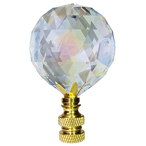 Crystal Finial Swarovski Strass Aurora Borealis Faceted 30mm Ball Prism Dazzling Lamp Shade - Crystal Swarovski Strass Brass