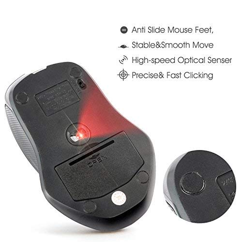 ZYC Wireless Mouse for Laptop with Side Buttons -Black Big Mouse Portable Mouse Optical 4 DPI Mice with USB Receiver