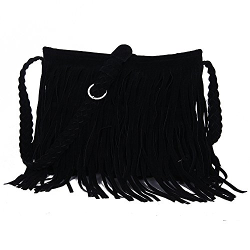 Dillian Womens Fringe Tassel Faux Suede Messenger Bag Hobo Shoulder Bags Crossbody Handbag (Elle Black Bag)