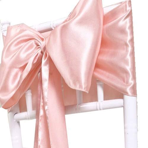mds Pack of 200 Satin Chair Sashes Bow sash for Wedding and Events Supplies Party Decoration Chair Cover sash - Blush Pink
