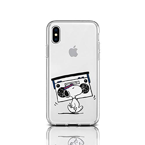 Case for Apple iPhone Protective Case Snoopy Charlie Brown Stripes Clear Transparent Silicone Flexible Design Art Cover iPhone (Flexing Snoopy Boombox, iPhone XR)