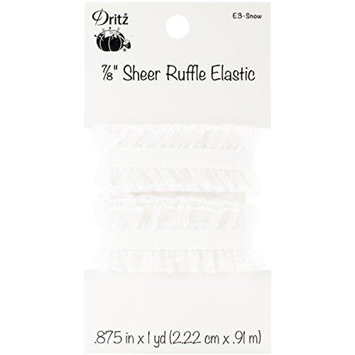 Dritz E3 Woven Sheer Ruffle Elastic, 7/8