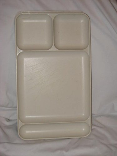 SET OF 4 - Vintage Almond Tupperware 15 x 9 Inch Plastic Divided Plates Trays