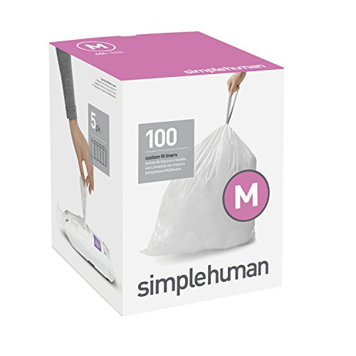 Price comparison product image simplehuman Code M Custom Fit Liners, Tall Kitchen Drawstring Trash Bags, 45 Liter / 12 Gallon, 100-Count Box
