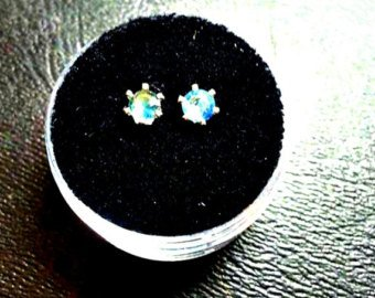 - Round Cut Blue Sapphire Stud Earrings Set in Sterling Silver. Natural Gemstone Jewelry .4ctw
