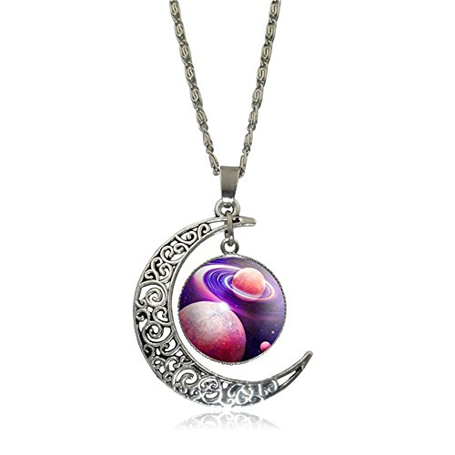 Seven Of Nine Costume Diy (Linsh Pendant Necklaces Hollow Out Carved Moon Stars Planet Meteorite Pendant Charm Chain Necklace Dome Time Gems for Womens Girls(Style 7))