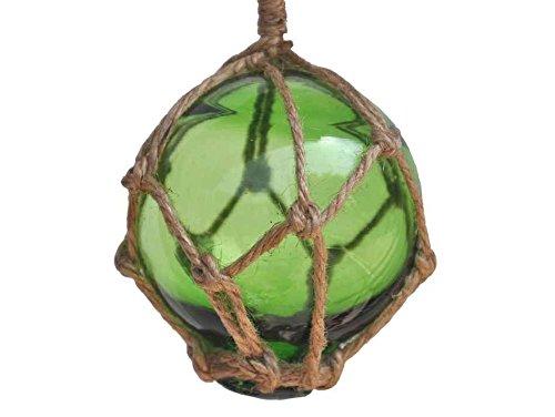 Hampton Nautical  Green Japanese Glass Ball Fishing Float with Brown Netting Decoration 3