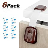 Benewell 6-PACK Baby Safety Locks with Adjustable Size/Flexible-AMAZING Strong 3M Adhesive-Furniture Latches For Cabinets, Drawers, Appliances, Toilet Seat, Fridge, Oven -No Tools Needed