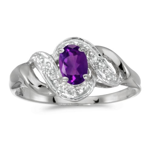 10k White Gold Oval Amethyst And Diamond Swirl Ring (Size 9.5) ()