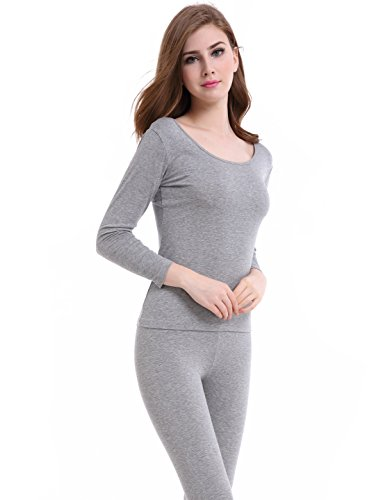 CnlanRow Thermal Underwear Women Long - Scoop Neck Ultra - Thin Johns Set Top & (Womens Lightweight Long Underwear)