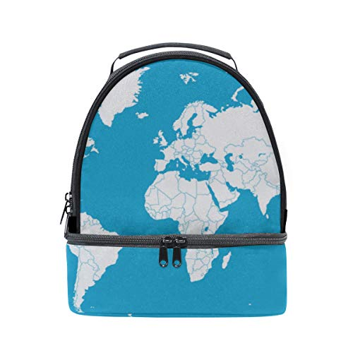 Bento Lunch Waterproof Old Color World Map Pattern Sturdy Double Layer Lunch Bag Kids Lunch Sturdy Bento Lunch Box Train For Girls Tote With Shoulder Strap