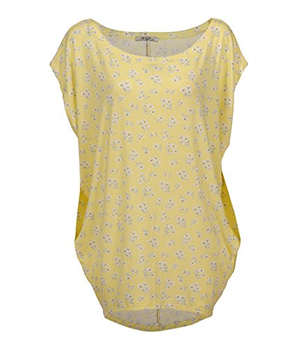 s Size Knitted Floral T Shirt Tops Short Sleeve Off Shoulder Batwing Blouse 1667 (XL,Yellow Floral) ()