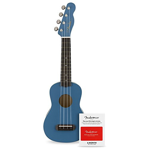 Fender Venice Soprano Ukulele - Lake Placid Blue with 6 Months of Fender Play (Amazon Exclusive)