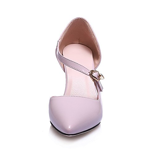 Sandals AmoonyFashion Solid Toe Buckle Closed Pink Heels Patent Womens High Leather rwz0xra