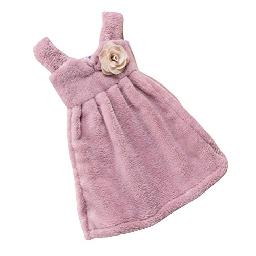 (1PCS Cute Hand Cloth Absorbent Thick Coral Velvet Dress Towel Hanging Towel for Kitchen Bathroom (Purple))