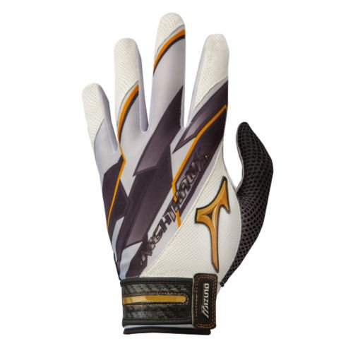 (Mizuno Women's Nighthawk Fastpitch Batting Gloves, White, Large)