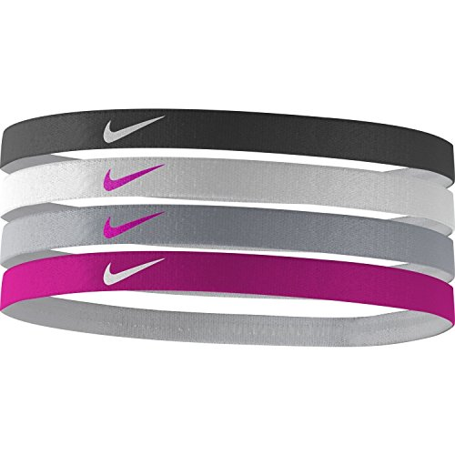 Nike Girls' Assorted Headbands - 4 Pack (Black/Vivid Pink, One Size)