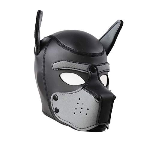 (Novelty Costume Dog Head Masks Neoprene Puppy Hood Custom Animal Full Face Head Mask (S,)